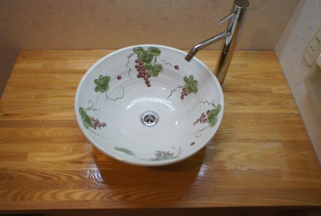 信楽焼手洗い鉢+造作洗面化粧台